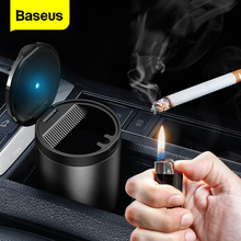 Baseus LED Light Car Ashtray High Flame Retardant Auto Ashtray Fireproof Material Easy Clean Fit Most Cup Holder Ashtray