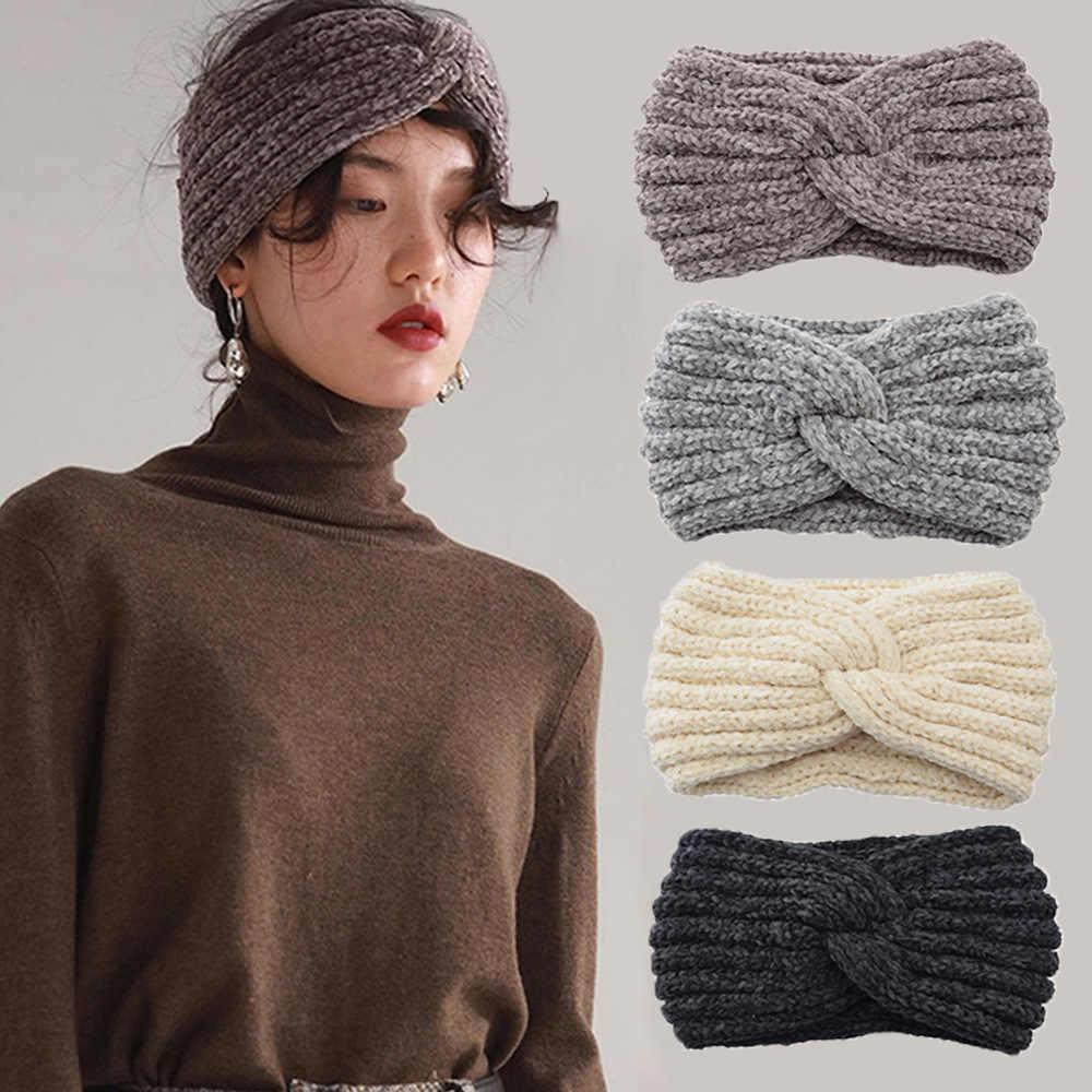 Fashion Winter Warmer Oor Gebreide Hoofdband Tulband Vrouwen Crochet Cross Brede Stretch Effen Haarband Headwrap Haaraccessoires