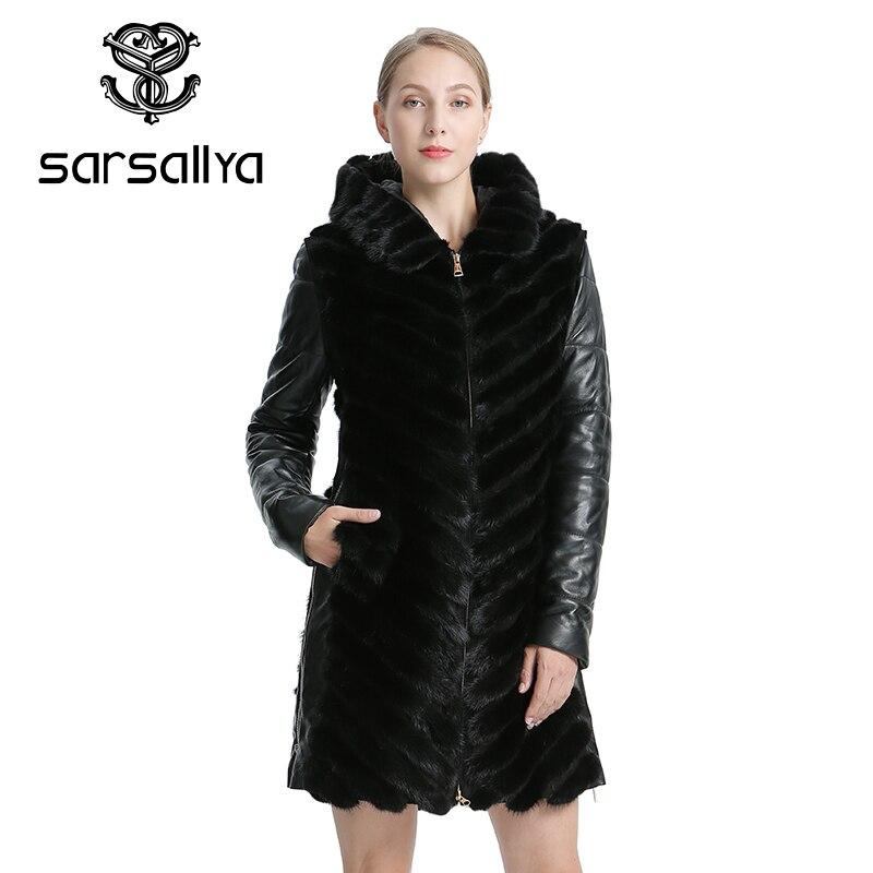 SARSALLYA naturalne płaszcz z norek kurtka kobiety kurtki zimowe odpinany skórzany prawdziwe futro płaszcz kobiety odzież płaszcz kobiet w Prawdziwe futro od Odzież damska na  Grupa 1