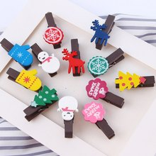 12pcs/set Christmas Wooden Clips navidad Santa Claus Clothespin Craft For Photo christmas gift decoration(China)