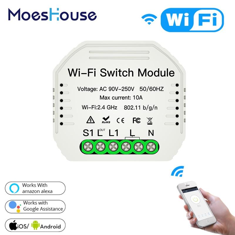 MiNi Wifi Smart Light Switch Diy Breaker Module Smart Life/Tuya APP Remote Control,Works With Alexa Echo Google Home 1 2 Way
