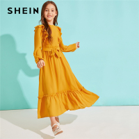 SHEIN Kiddie Girls Solid Ruffle Hem Dress With Belt 2019 Autumn High Waist Bishop Sleeve Zipper Back Kids Cute Maxi Dresses