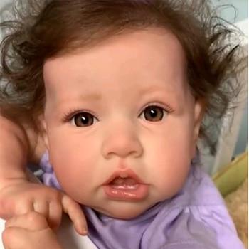55CM Cute Reborn Baby Boneca Full Silicone Handmade Crooked Mouth Reborn Baby Doll Lifelike Babies Toy For Kid Birthday Gifts warkings reborn