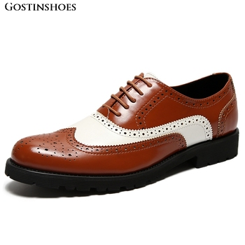 Classic British Style Mixed Colors Brogue Buty Meskie Men Casual Zapatos De Hombre Business Casual Buty Meskie фото
