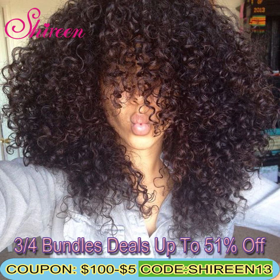 Shireen Afro Kinky Curly Hair Weave Bundles Malaysian Human Hair Bundles Can Buy 3/4 Bundle Deals 8-26Inch Remy Hair Extension