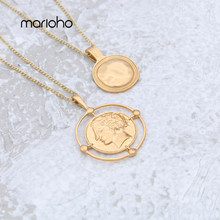 Retro Gold Color Round Carved Coin Necklace Figure Medal Long Chain Double Layered Necklace Pendant Personalized Women Accessori(China)