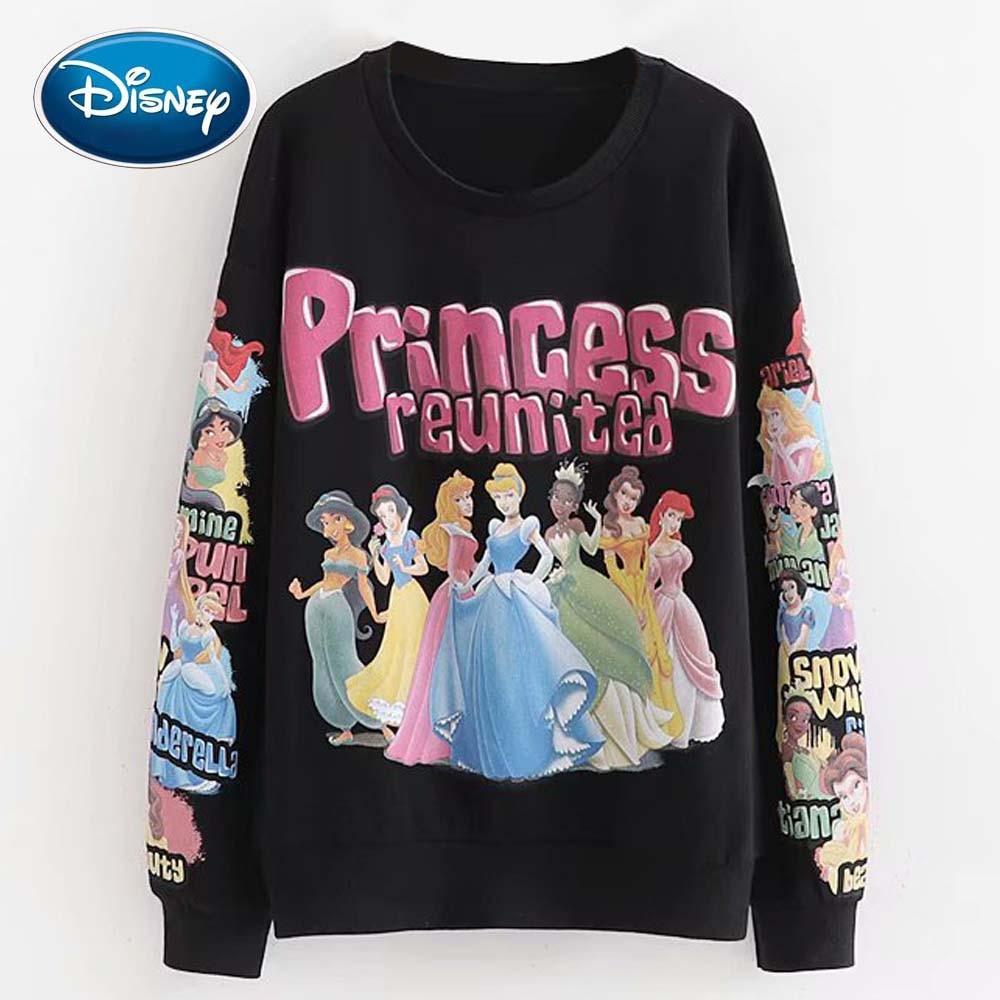 Disney Stylish Princess Reunited Cartoon Letter Print O-Neck Pullover Streetwear Black Women Sweatshirt Jumper Long Sleeve Tops