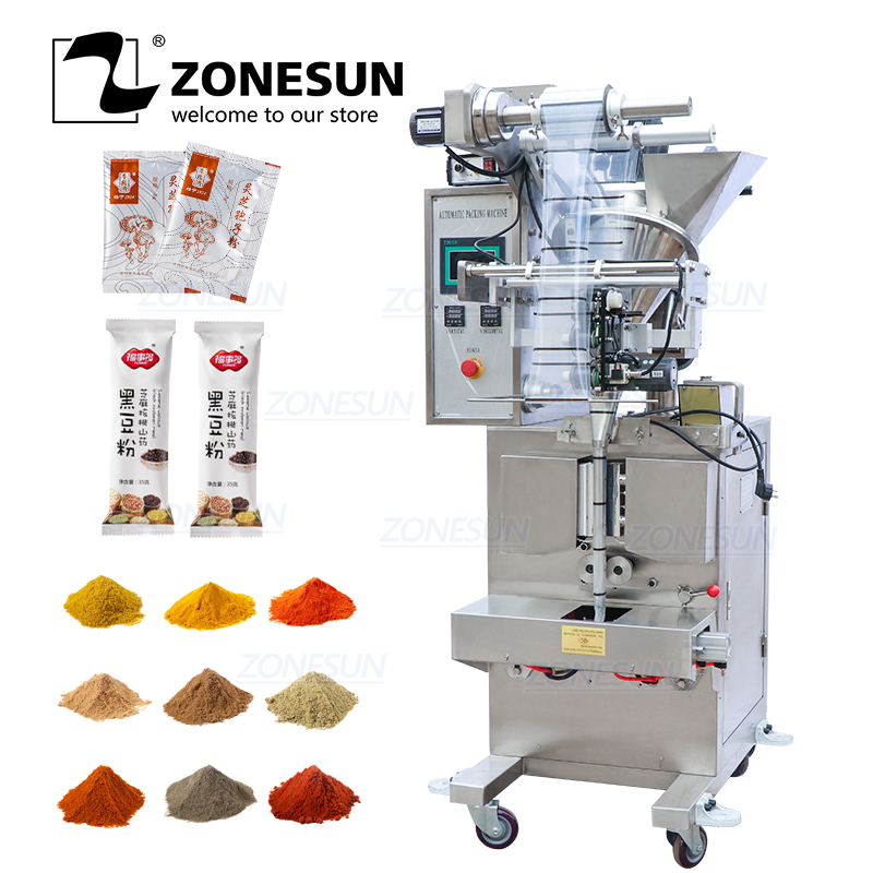 ZONESUN ZS-F100 4 Side Seal Powder Pillow Plastic Bag Filling Sealing Machine Price Automatic Packing Machine