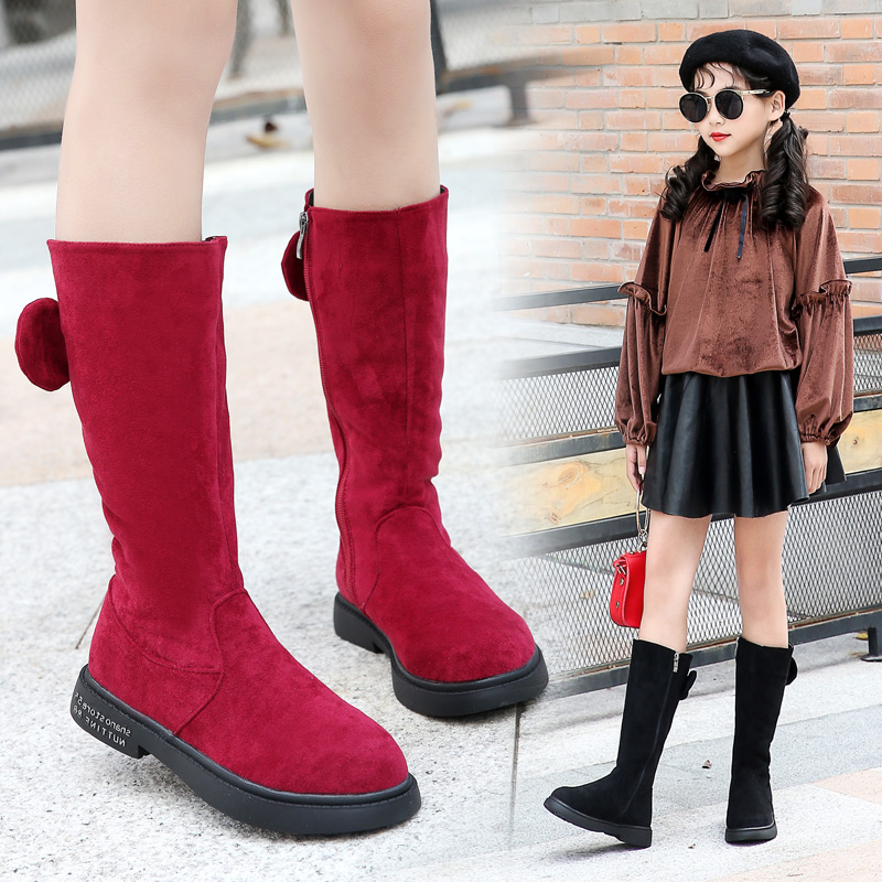 Girls Boots 2019 Fashion Winter Children Shoes Little Big Kids Girl Warm Snow Boots Princess Bow Leather Mid-calf Boot For Girl
