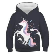 Pull à capuche licorne pour enfants de 4 à 14 ans, vêtements d'hiver en polyester, nouvelle collection