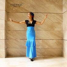 Girls Spanish Dress Costume Flamenco Lycra Ballroom  Waltz Dance Foxtrot  Wear Women DDT0