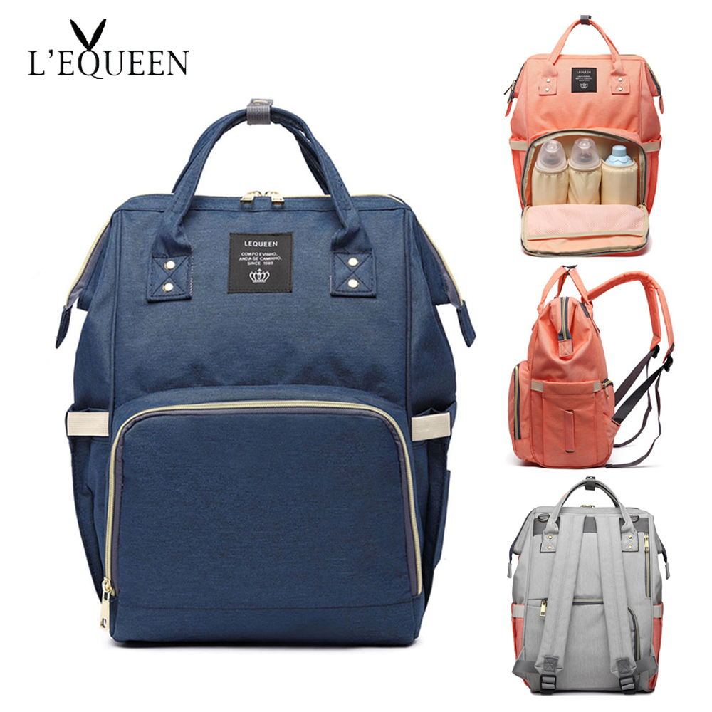 LEQUEEN Baby Maternity Diaper Bag Waterproof Baby Bag Mom Nappy Travel Backpack Baby Wet Bag Large Capacity Mummy Nursing Bag