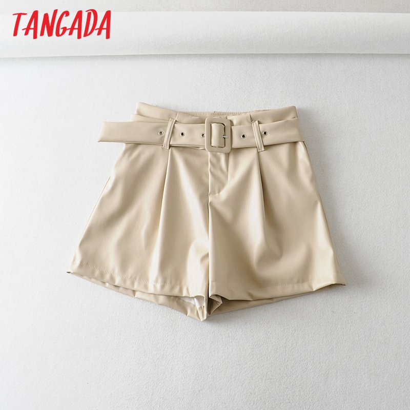 Tangada Women Elegant Pu Leather Shorts Beige Black Sashes New Arrival Pockets Female High Waist Ladies Casual Shorts 6A313