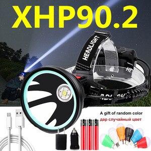 80000LM XHP90.2 светодиодный налобный фонарь мощный фонарь 32 Вт внешний аккумулятор рыболовный светильник 3x18650 перезаряжаемый аккумулятор
