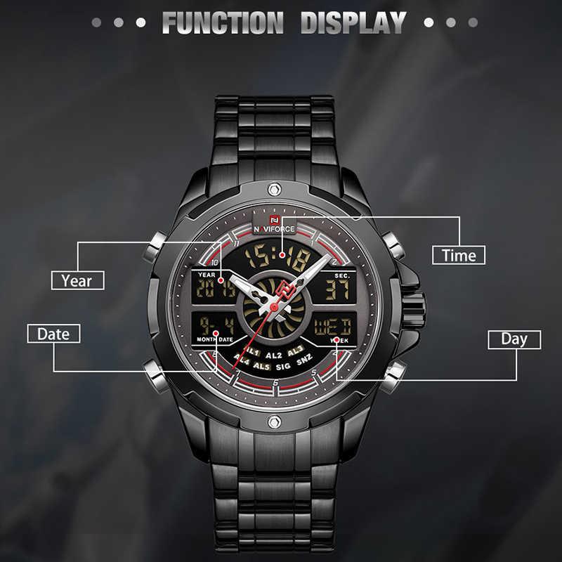 Мужские часы Топ люксовый бренд NAVIFORCE Спортивные кварцевые мужские часы из нержавеющей стали водонепроницаемые наручные аналоговые цифровые мужские часы