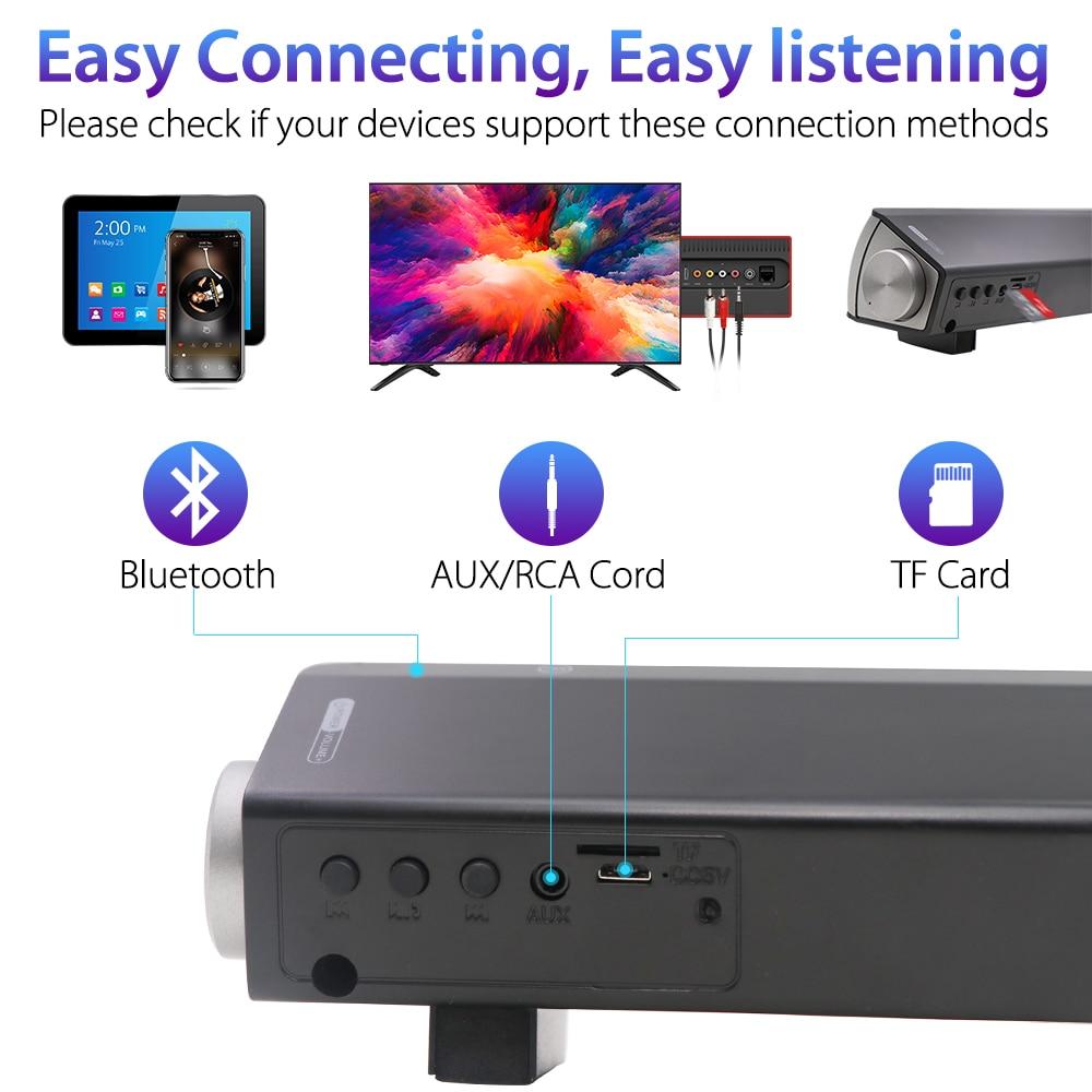 Soundage-altavoz inalámbrico para cine en casa, barra de sonido estéreo portátil con tarjeta TF para teléfono/PC 2
