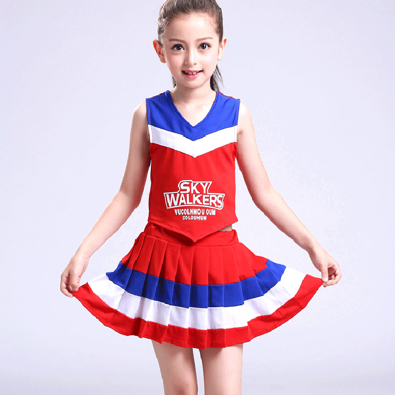 Kids Girls Cheerleader Costume Pleated Skirt Set Dance Show Stage Performance Children Competition Cheer School Team Uniforms
