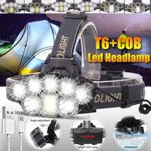 USB Rechargeable Headlight Super Bright Headlamp 2*T6+5*Q5+1*COB LED Head Lamp Flashlight Torch Head Light Lantern 18650 Battery xml t6 cob 5leds 7leds led headlight 18000lm led head light lamp tube torch flashlight usb cable 18650 battery