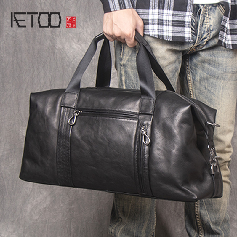 Mens Leather Tote Briefcase Head Cowhide Large Capacity
