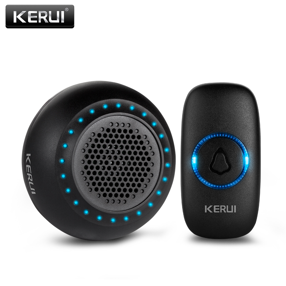 KERUI M523 Wireless Smart Doorbell Kit 32 Songs Waterproof Touch Battery Button Chimes Home Store Doorbell Colorful LED Light