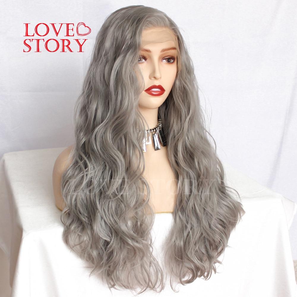 Lovestory cinza cor peruca dianteira do laço