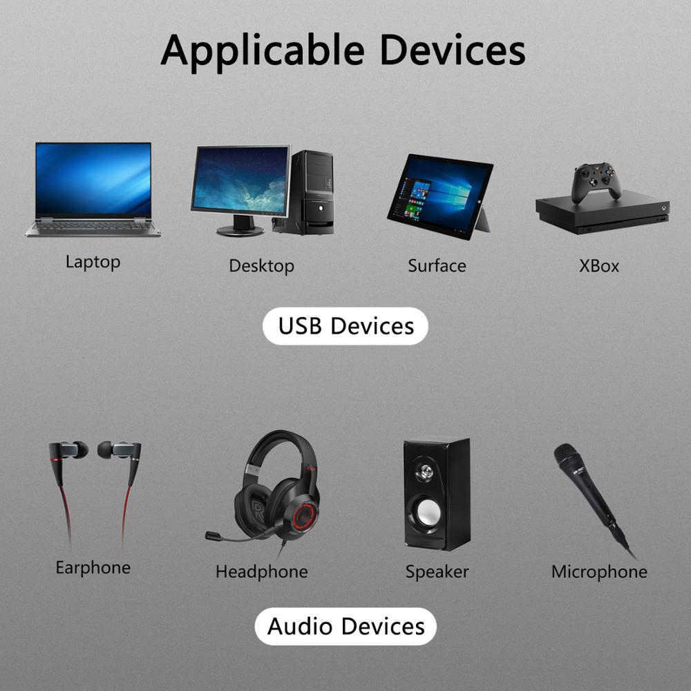 Kebidumei adaptador usb 2.0 de placa de som, para pc, 5.1 laptop portátil