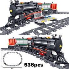 536 pces série de tecnologia simulação trem a vapor trilha ferroviária crianças educacional montar blocos de construção brinquedos para adultos
