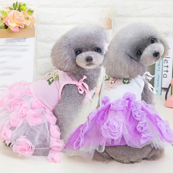Spring Summer Clothes Rose Pearls Formal Skirt For Dog Girls, Small Medium Dog Pet Sweet Gift Princess Full Dress