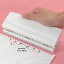 new 6 Hole Punch Loose-Leaf Standard Puncher Paper Adjustable Stapler Office Binding Supplies Student Stationery Equipment 3pcs free stapler paper binding binder office student stationery