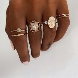 Yobest bohème anneaux ensemble pour femmes Vintage bouddha statue zodiaque lotus breloque bague commune bijoux de mariage