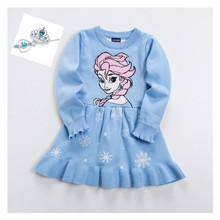 Girl Autumn Winter Sweater Princess Dress Long Sleeve Cartoon Elsa Sofia Christmas Knitted