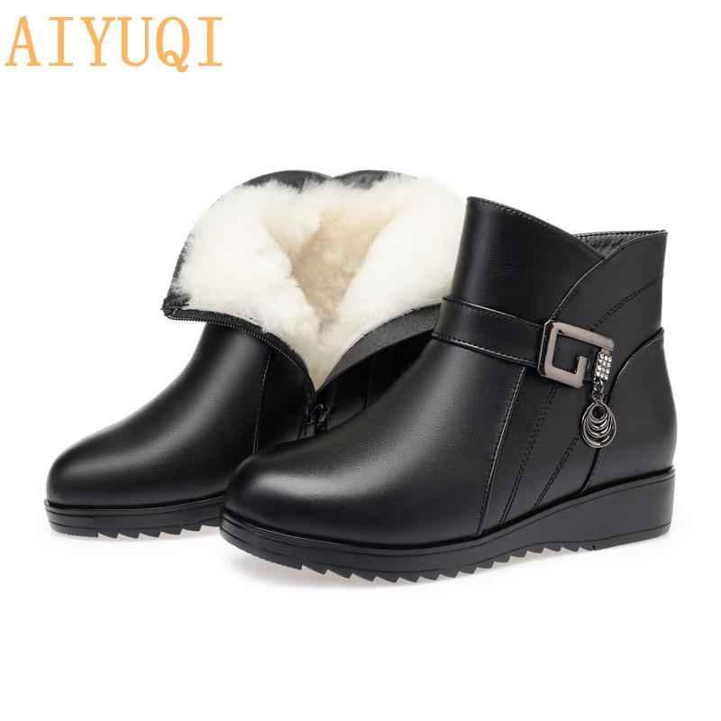 AIYUQI Boots women shoes winter 2019 new flat ankle boots ladies big size 41 42 43 wool wram mother