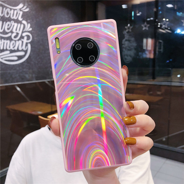 Funda De Lujo Huawei P30 Pro P40 P20 Lite Mate 20 30 Lite Mate 30 Pro, Funda Holográfica Con Prisma Láser Para Teléfono 3D Plain 1