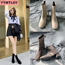 2019 fashion ankle boots winter Pu leather womens work shoes round toe tie black female