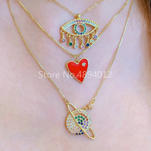 10Pcs,Women Necklace,Fashion Jewelry, CZ Setting,Pop Charms, Hearts Design, 2colors Can Wholesale