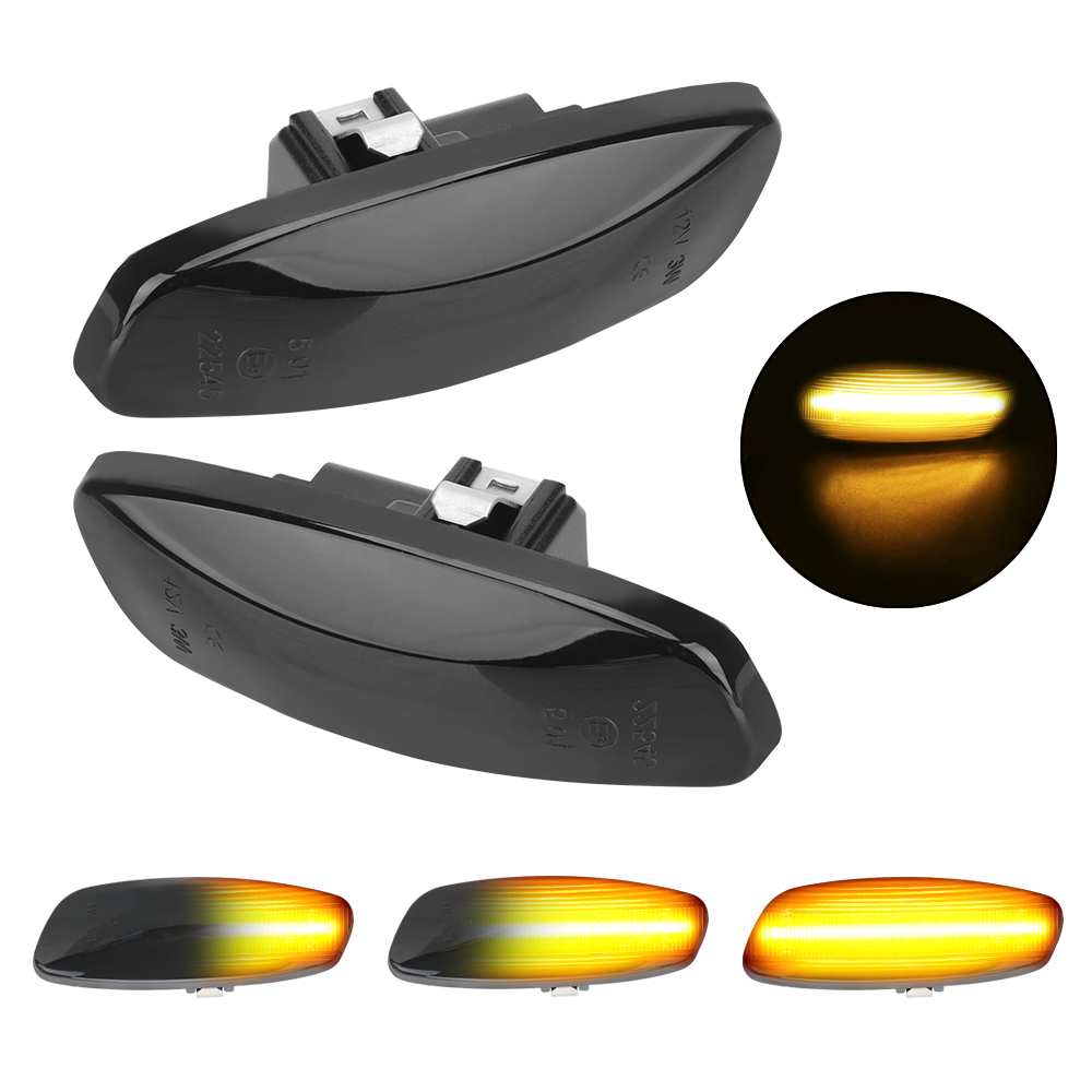 2Pcs Sequential Blinker <font><b>Light</b></font> Turn Signal <font><b>Light</b></font> <font><b>LED</b></font> Car Dynamic Side Marker For <font><b>Peugeot</b></font> <font><b>308</b></font> 207 3008 5008 Citroen C4 C3 C5 DS3 image