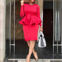 Women Solid Red Ruffle Bodycon Dress Elegant Cocktail Party Dress Office Ladies Tunic High Waist Long Sleeve Midi Dresses women dress winter red plus size dress mini autumn loose solid lantern sleeve vintage befree ladies short office party dress