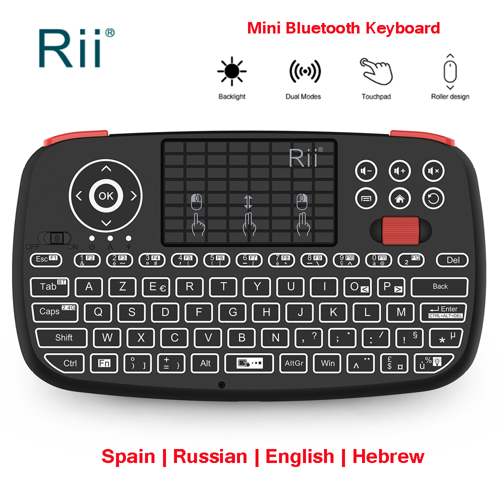 Rii I4 2.4G Mini Bluetooth Keyboard Russian English Spain Wireless Keyboard With Backlit Air Mouse For Windows Android Phone