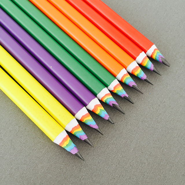 50pcs New Colorful Rainbow Pencil Drawing Pencil For School Office Creative Stationery Paper Pencils Kids Gift Set Wholesale