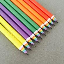 50pcs nouveau coloré arc en ciel crayon dessin crayon pour école bureau créatif papeterie papier crayons enfants coffret cadeau en gros
