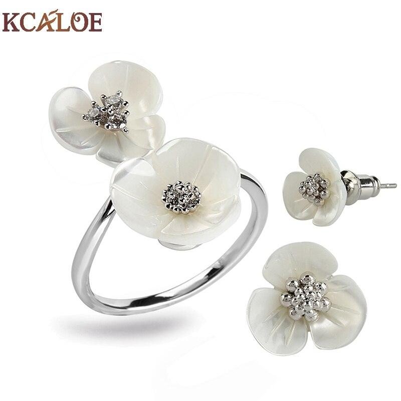 KCALOE Moda Pequenas Flores Conjuntos Jewlery Para As Mulheres Bijuterias Cor de Ouro Natural Shell Noivas Brincos E Anel Conjunto