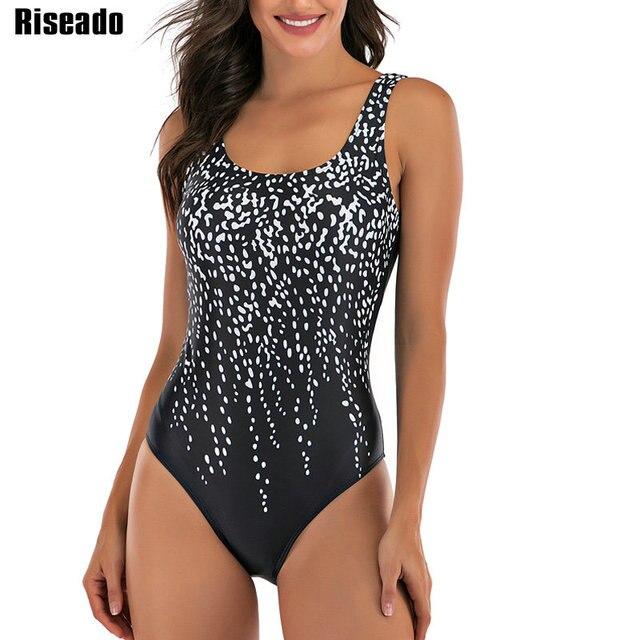 Riseado Sport One Piece Swimsuit Women Competition Swimwear 2020 Swim Cross Bandage Swimming Suits for Women U back Bathers
