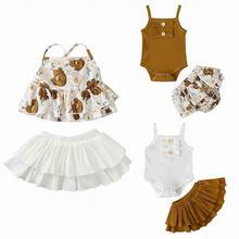 Newborn Girl 2pcs Clothing Sets 2020 Summer Fashion braces Jumpsuits+Skirt Outfits Babies Clothes E21247 cheap JORGE AMADO COTTON O-Neck Pullover Sleeveless REGULAR Fits true to size take your normal size Combed Cotton Vest Floral