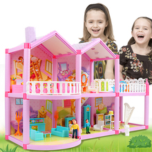 Children DIY Family Dollhouse Baby Handmade Puppet House Assemble Miniature Doll house Castle Miniatures Casa Toys For Kids Gift