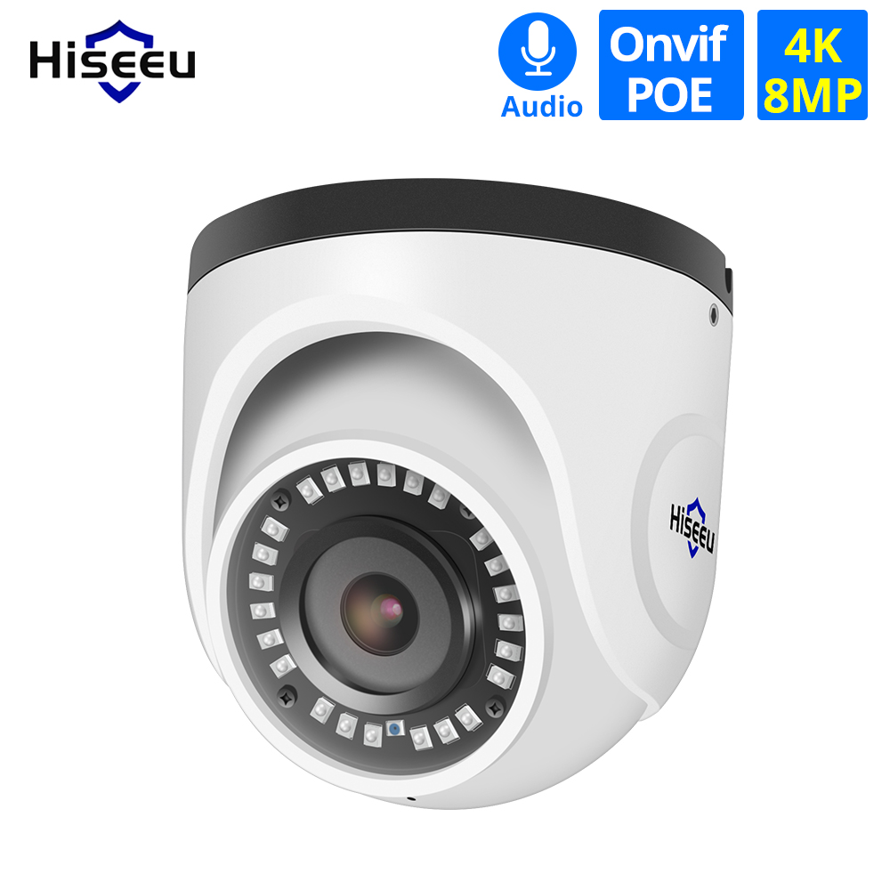 Hiseeu 4K POE IP Camera Audio 8MP Waterproof Indoor Network Dome Security CCTV Camera IR H.265 CCTV Video Surveillance Onvif