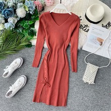 цена на Autumn Winter V Neck Split Knit Wool Dress Slim Fit High Waist Bodycon Bottom Vestidos Sweet Cross Drawstring Dress