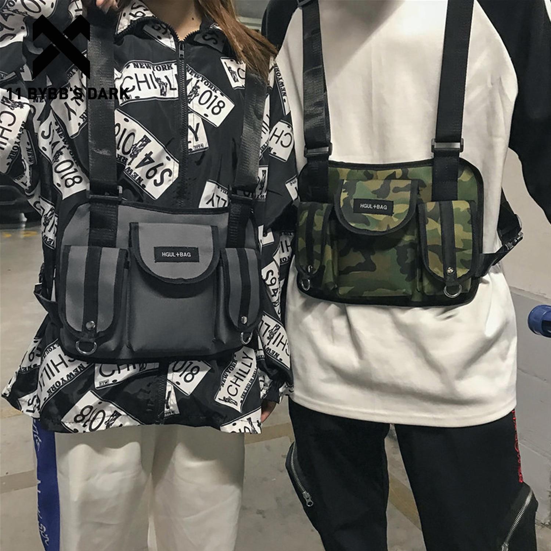 11 BYBB'S DARK Camo Hip Hop Chest Rig Bags Men Functional Adjustable Waist Packs Adjustable Tactical Chest Waist Bag High Street