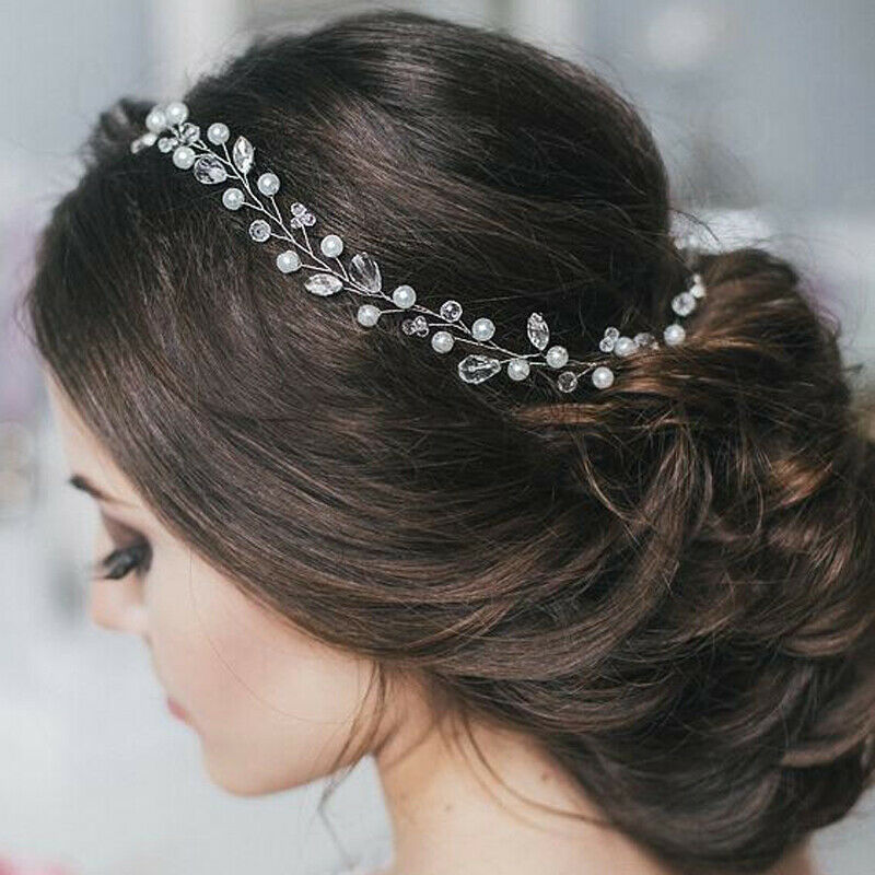 Bride Crystal Headbands Wedding Hair Accessories Handmade Hair Decoration Pearl Rhinestone Headwear Hair Ornament For Women Girl