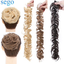SEGO 32g Remy Real Human Hair Chignon Messy Bun Scrunchies Rubber Band Haarband Updo Chignon Donut Roller Ponytails