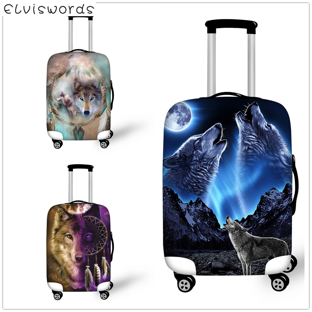 ELVISWORDS Suitcase Cover animal wolf travel accessories size 18-32 inch Luggage cover for elastic waterproof luggage tag